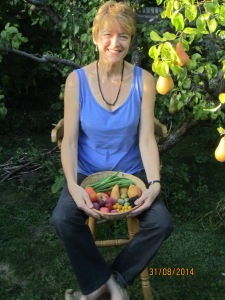 Pippa with fruit harvest